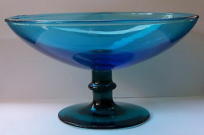 Vintage Blue & Aqua Art Glass Comport  21.75 cm diameter