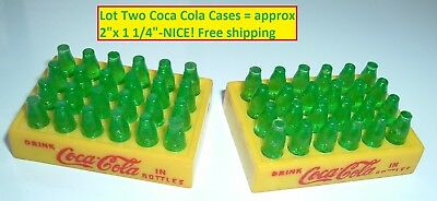Lot 2 Vintage Toy Coca Cola Soda Pop Coke Toy cases with Bottles NICE Free Ship