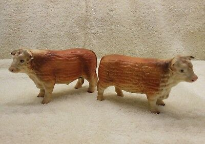 Lot of 2 - Rare Vintage Bull Cow Figurines.  Norcrest. Made in Japan.   A887