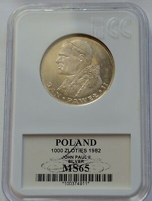 1000 Zlotych 1982 Pope John Paul II Silver Coin Poland Great condition