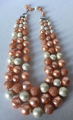 Vintage 3 Strand Coral and Ivory Faux Pearl/Beaded Necklace (17-153)