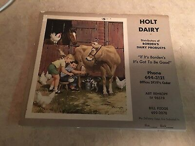 Vintage Holt Dairy Calendar 1966 Borden Dairy Products Rehkopf Fudge