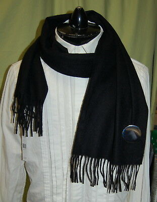 NWT MARC JACOBS 100% cashmere black scarf with a round pin $129