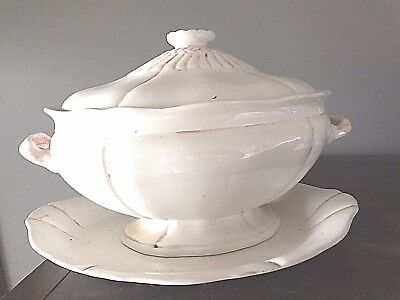 Antique Porcelain Soup Tureen With Matching Platter And Cover