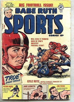 Babe Ruth Sports Comics #10-1950 gd+ Kyle Rote / Jake LaMotta / Pro Wrestling