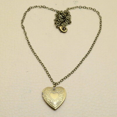 """24 1/4"""" Vintage Antique Style Love Heart Locket Solid Copper Necklace Chain"""