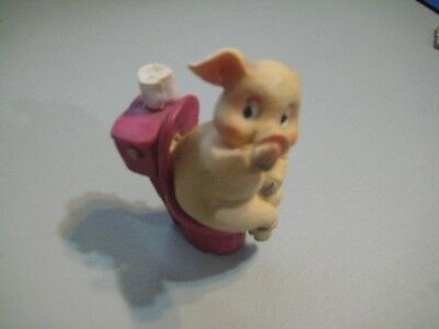 Pig Collectable - Naughty Pig - Naked Pig sitting on Toilet Holding His Nose