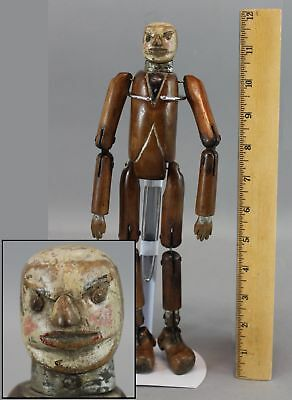 Antique American Folk Art Carved Painted Wood & Tin Jointed Man, Frightening!