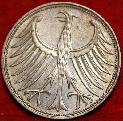 1951-G Germany 5 Mark Silver Foreign Coin Free S/H