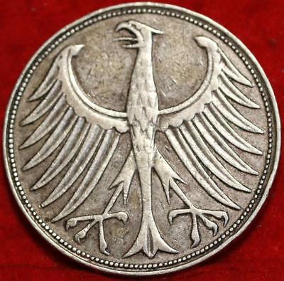 1951-J Germany 5 Mark Silver Foreign Coin Free S/H