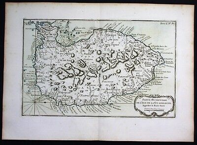 1764 - Guadeloupe Basse Terre Lesser Antilles Bellin handcolored antique map