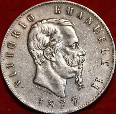 1877 Italy 5 Lire Silver Foreign Coin Free S/H