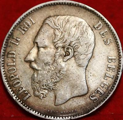 1869 Belgium 5 Francs Silver Foreign Coin Free S/H