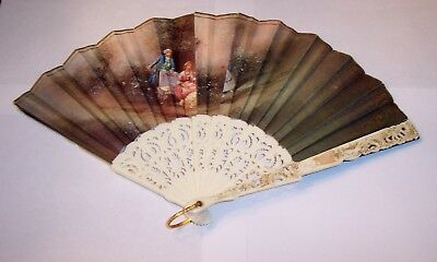 Vintage Ladies Hand Fan  Victorian Couples 2 different scenes