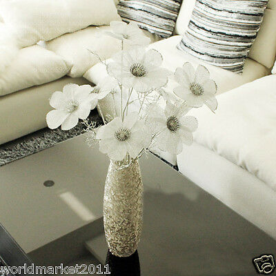 New Simple Noble Glass Vase With Three Beam Silver Rose Household Adornment