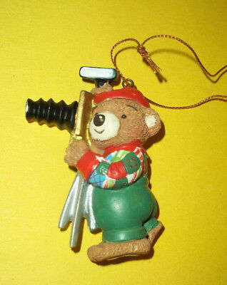 """Resin Teddy Bear as Old Fashioned Photographer Ornament / Magnet - 2 3/4"""" Tall"""