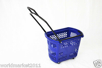 New Convenient Blue Plastic Basket Four Wheels Shopping Luggage Trolleys