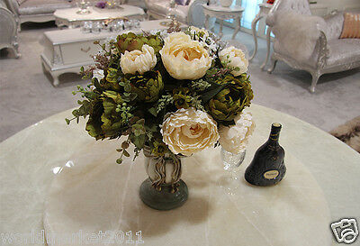 New Home Decoration Height-53cm Vase + White Rose High Emulation Cloth Flowers