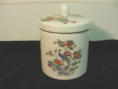 "Wedgwood Fine Bone China ""kutani Crane""  Candy Jar With Lid $50 Value"