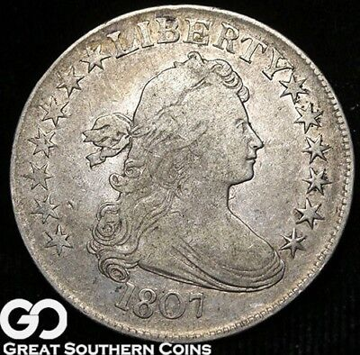 1807 Draped Bust Half Dollar, Very Tough Choice VF++ Early Silver Type!
