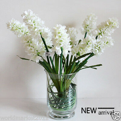 New Simple Transparent Glass Vase With White Flowers Household Decoration