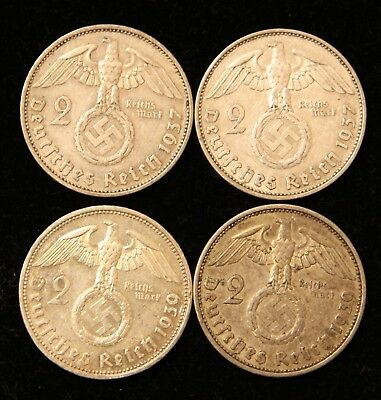Four Coin WWII Germany Two Reichsmark Silver coins 1937-A & 1939-A Bullion