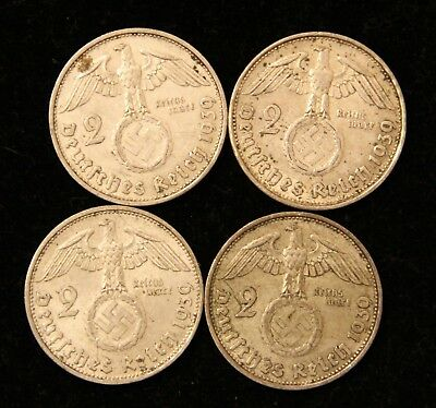Four Coin WWII Germany Two Reichsmark Silver coins 1939-A & 1939-B Bullion