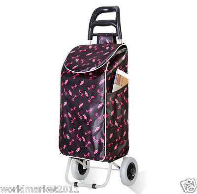 New Convenient Pink Pattern Two Wheels Collapsible Shopping Luggage Trolleys