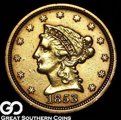1853 Quarter Eagle, $2.5 Gold Liberty, Details ** Free Shipping!