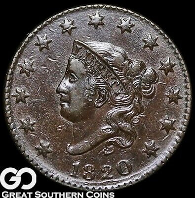 1820 Large Cent, Coronet Head, Scarce Choice AU Early Copper, ** Free Shipping!