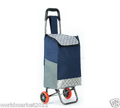 Convenient Navy Blue Pattern Two Wheels Collapsible Shopping Luggage Trolleys