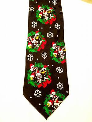 "1995 Vintage Christmas Tie ""Looney Tunes Mania"" Warner Bros Daffy Tweetie Bugs"