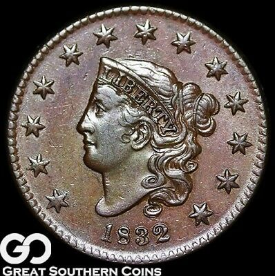 1832 Large Cent, Coronet Head, Super Scarce This Nice, Beautiful BU++ Key Date!