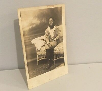 Vtg Antique Photo Postcard RPPC African American Girl Booneville  Mississippi