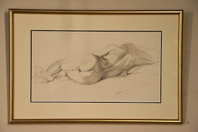 Large original pencil scetch of a reclining nude lady signed by artist C Steer
