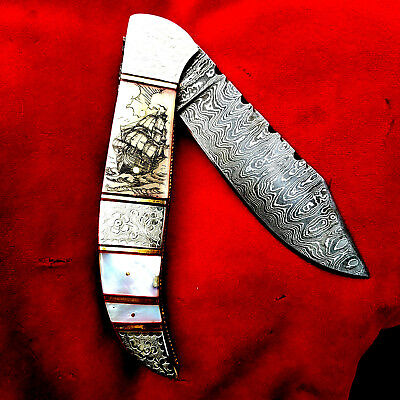 A Shar Original Nautical Scrimshaw Art, Damascus Blade Handcrafted folding knife