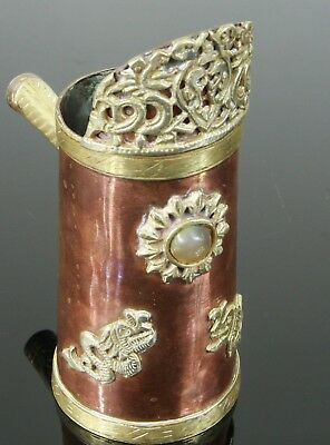 Tibetan Silvered Copper & Brass Jug / Chocolate Pot ~ Cabochon Stone & Dragons
