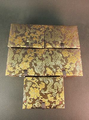 Chinese 5 Coffee Snuff Bottle Brocade Boxes