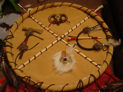 Dreamcatcher With A Wolf Head, Hatchet, Bow And Arrow And Rams Head (Tan)