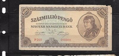 HUNGARY #124 1946 100 MILLION PENGO GOOD CIRCulated OLD BANKNOTE PAPER MONEY