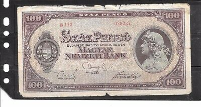 Hungary #111 1945  Good Circulated 100 Pengo Old Banknote Paper Money Note