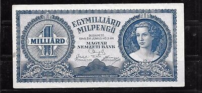 Hungary #131 Vg Circulated Milliard Milpengo  Banknote Paper Money Bill Note