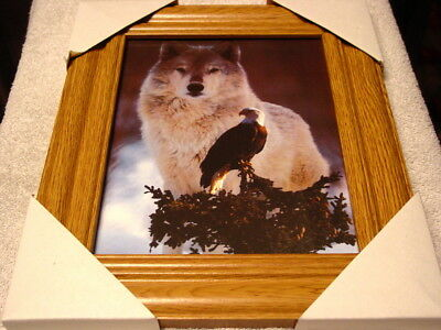 Wolf And Eagle 11X13 Mdf Framed Picture ( Wood Color Frame )