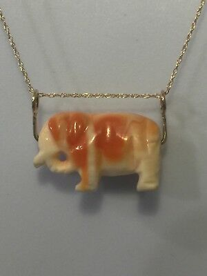 Vintage Coral Shell Carved Elephant With 14k Yellow Gold Settings And 14k Chain