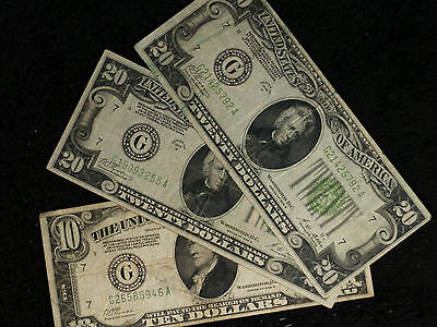 $50 Face Value 1928 Federal Reserve Notes - 2 1928B $20 and 1 1928B $10