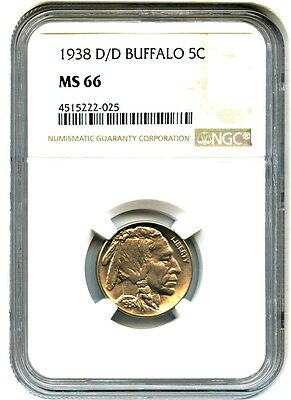 1938-D/D Buffalo 5c NGC MS66 - Buffalo Nickel