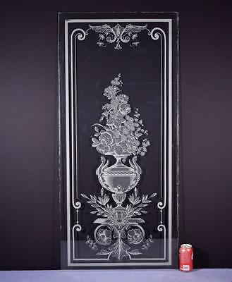 *Antique French Etched Glass Window or Panel with Flowers in an Urn 2