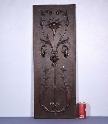 *Antique French Panel in Solid Walnut Wood with Grapes and Flowers