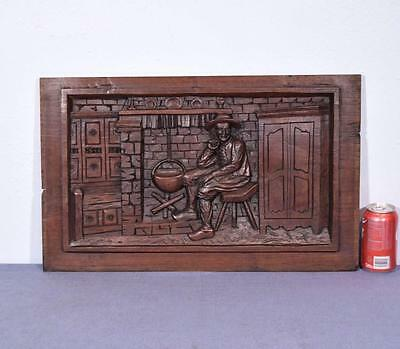 *French Antique Breton Panel Brittany Chestnut Wood Deeply Carved with a Man