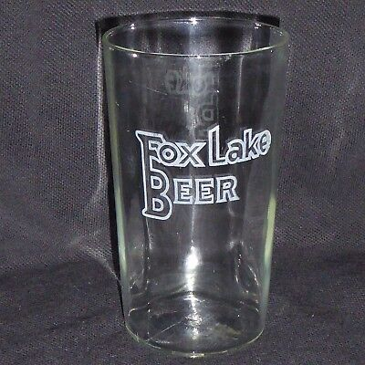 Fox Lake Brewing Co Pre-Pro Etched Shell Beer Ribbed Panel Glass Fox Lake Wis